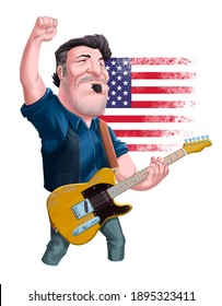 January 15, 2021:Cartoon of Bruce Springsteen playing guitar to illustrate articles, newspapers, etc
