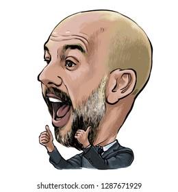 January 18, 2019 Pep Guardiola, Josep Guardiola i Sala an  Former professional footballer , Football manager Portrait Drawing Illustration.