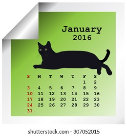 January 2016 Calendar with black cat silhouette