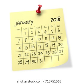 January 2018 Calendar. Isolated on White Background. 3D Illustration