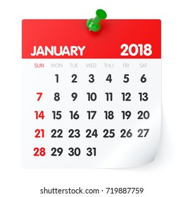 January 2018 - Calendar. Isolated on White Background. 3D Illustration