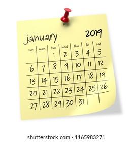 January 2019 Calendar. Isolated on White Background. 3D Illustration