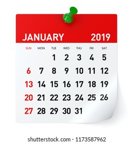 January 2019 - Calendar. Isolated on White Background. 3D Illustration