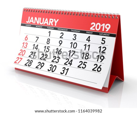 Royalty Free Stock Illustration Of January 2019 Calendar Isolated On