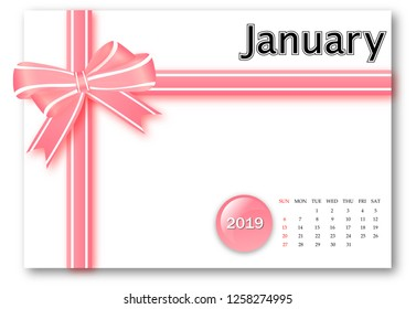 January 2019 - Calendar series with gift ribbon design