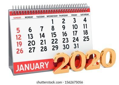 January 2020 Desk Calendar, 3D rendering isolated on white background