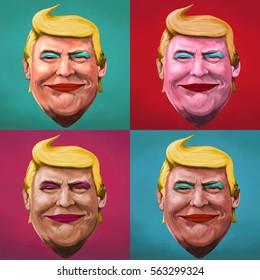 January 24, 2017- Ayvalik, Turkey : Donald Trump pop art themed cartoon portrait. Illustrated in Turkey by Erkan Atay.