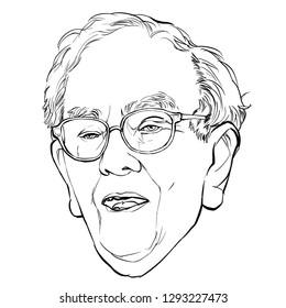 January 24, 2019 Caricature of Warren Edward Buffett, Warren Buffett, Investor , Businessman Millionaire Portrait Drawing Illustration.