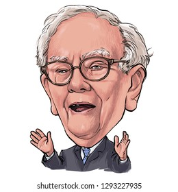January 24, 2019 Caricature of Warren Edward Buffett, Warren Buffett, Investor , Businessman Millionaire Portrait Drawing Illustration.
