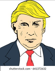 January 25, 2017: illustration of american president Donald Trump done in hand draw style