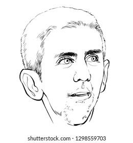 January 27, 2019 Caricature of Novak Djokovic an professional tennis player.