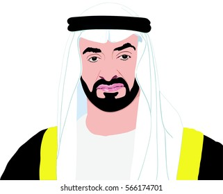 January 28, 2017: Portrait of His Highness Sheikh MOHAMMED BIN ZAYED AL NAHYAN Crown Prince and Minister of Interior of Abu Dhabi Emirate of United Arab Emirates