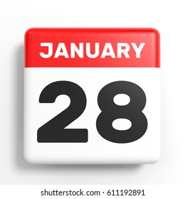 January 28. Calendar on white background. 3D illustration.