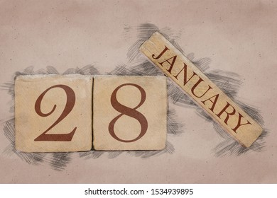 january 28th. Day 28 of month, calendar in handmade sketch style. pastel tone. winter month, day of the year concept