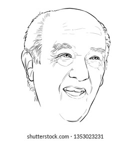 January 29, 2019 Caricature of Amancio Ortega Gaona, Amancio Ortega, Investor, Spanish billionaire businessman Portrait Drawing Illustration.