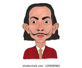 January 29, 2019. Illustration, Cartoon, Artist. Painter, Salvador Dali, Spain.