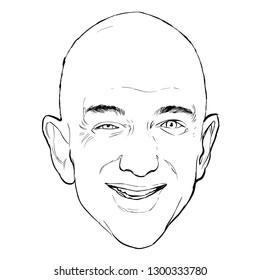 January 31, 2019 Caricature of Jeff Bezos CEO Amazon businessman Millionaire Portrait Drawing Illustration.