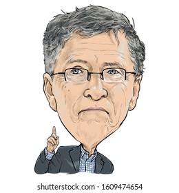 January 8, 2020 Caricature of William Henry Gates III, Bill Gates is an American business magnate, investor, author, philanthropist, and humanitarian, Portrait Drawing Illustration.