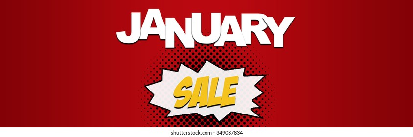 January Christmas sale web banner with deals for winter and new year