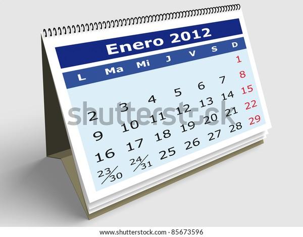 January month in Spanish. 2012 Calendar. 3d render