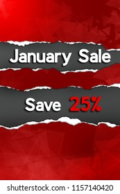 January Sale advertisement. Red foreground with ripped paper effect revealing words and percentage off. Black background