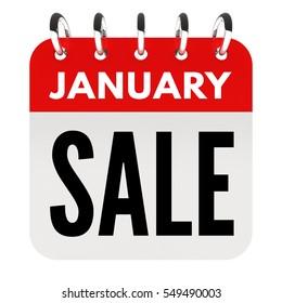 January sale calendar background 3D render