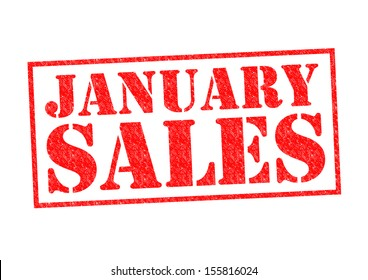 JANUARY SALES Rubber Stamp over a white background.