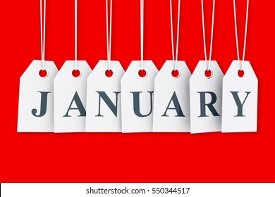 January tag on hanging labels. January promotions 3D render