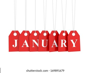 January tag on red hanging labels. January promotions.