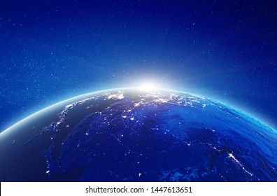 Japan and China city lights sunrise. Elements of this image furnished by NASA. 3d rendering