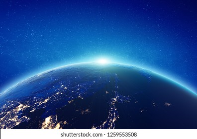 Japan and Far East Russia sunrise. Elements of this image furnished by NASA. 3d rendering