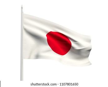 Japan flag floating in the wind with a White sky background. 3D illustration.
