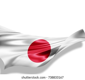 Japan flag of silk with copyspace for your text or images and white background -3D illustration