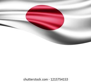 Japan flag of silk and white background-3D illustration