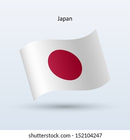 Japan flag waving form. See also vector version.