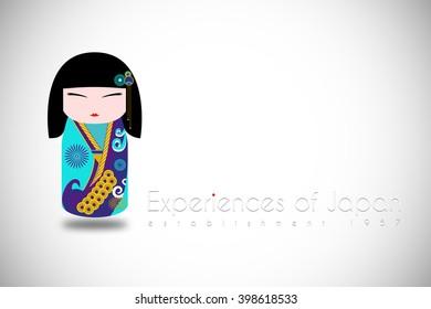Japan girl in kimono illustration