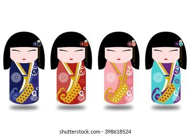 Japan girls in kimono illustration