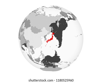 Japan highlighted in red on grey political globe with transparent oceans. 3D illustration isolated on white background.