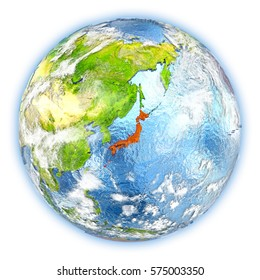 Japan highlighted in red on planet Earth. 3D illustration isolated on white background. Elements of this image furnished by NASA.