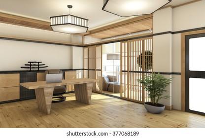 japan home office in wood 3d Rendering