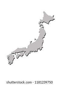 Japan illustration of a contour map with black shadow on white isolated background