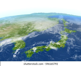 Japan and Koreas. 3D illustration with detailed planet surface. Elements of this image furnished by NASA.