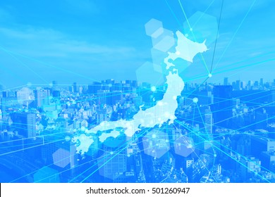 japan map business background-blue