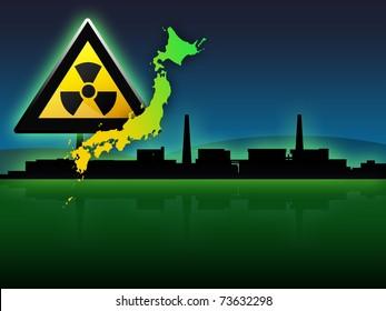 japan map fukushima radioactivity sign illustration