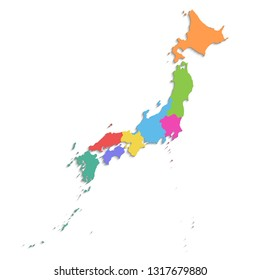 Japan map, new political detailed map, separate individual regions, with state names, isolated on white background 3D blank raster