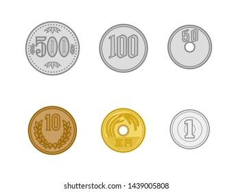 Japan money currency money coin icon illustration yen  500 yen 100  50  10  5 1