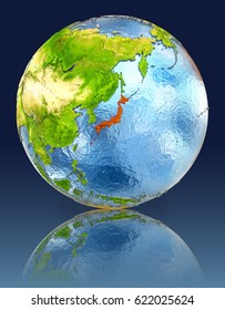 Japan on globe with reflection. Illustration with detailed planet surface. Elements of this image furnished by NASA.