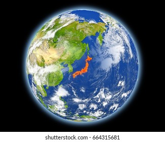 Japan on planet Earth. 3D illustration with detailed planet surface. Elements of this image furnished by NASA.