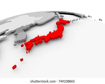 Japan in red on grey model of political globe. 3D illustration.