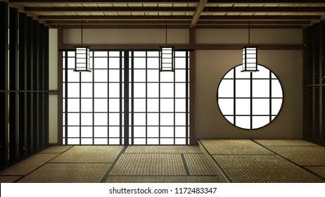 Japan Room Design Japanese-style. 3D rendering